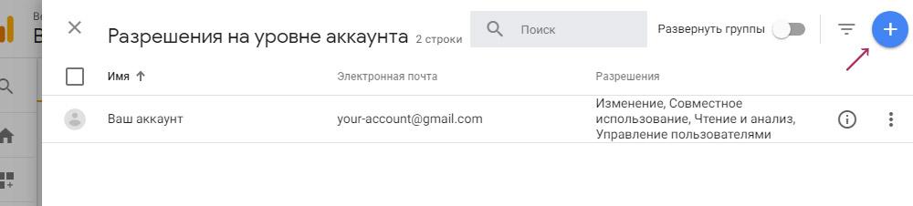 Добавление Аккаунта для доступа к Google Analytics